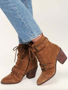 Dark Brown Round Toe Belt Buckle Zipper Lace-up Chunky Fashion Boots