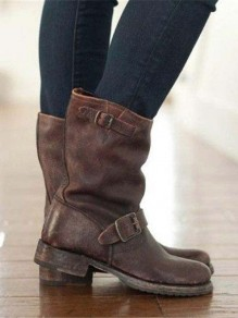 Brown Round Toe Belt Buckle Zipper Chunky Fashion Boots