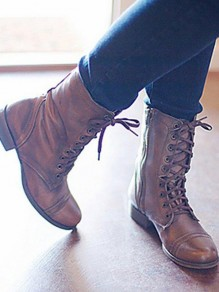 Brown Round Toe Chunky Sequin Fashion Mid-Calf Boots