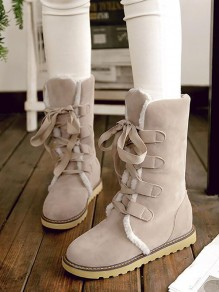 Grey Round Toe Fashion Mid-Calf Boots