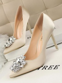 Beige Point Toe Stiletto Rhinestone Glitter Sparkly Fashion Homecoming Prom High-Heeled Shoes