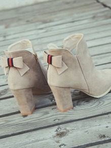 Apricot Point Toe Bow Fashion Ankle Boots