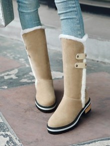 Beige Round Toe Flat Fashion Mid-Calf Boots