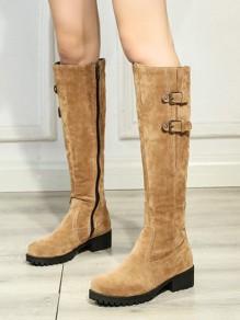 Brown Round Toe Flat Fashion Knee-High Boots