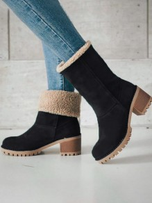 Bottes bout rond chunky mode cheville noir