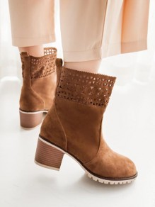 Brown Round Toe Chunky Cut Out Fashion Ankle Boots