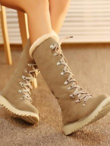 Beige Round Toe Sequin Fashion Mid-Calf Boots