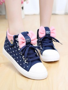 Dark Blue Round Toe Flat Bow Polka Dot Print Fashion Shoes