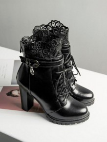 Black Round Toe Chunky Rhinestone Lace Patchwork Fashion Ankle Boots