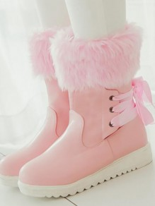 Pink Round Toe Lace Fashion Ankle Boots
