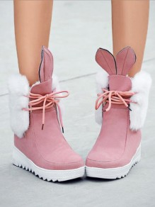 Pink Round Toe Wedges Lace Fashion Ankle Boots