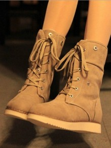 Beige Round Toe Lace-up Fashion Boots