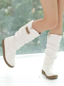 White Round Toe Flat Fashion Mid-Calf Boots
