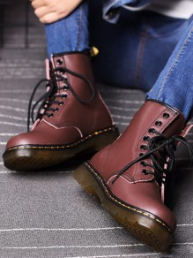 Red Round Toe Fashion Ankle Boots