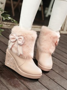 Pink Round Toe Wedges Bow Rhinestone Faux Fur Patchwork Fashion Ankle Boots