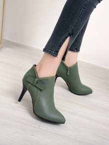 Green Round Toe Stiletto Bow Fashion Ankle Boots