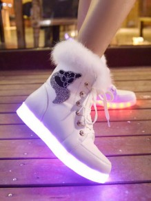White Round Toe Rhinestone Sequinc Fashion Ankle Boots