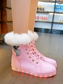 Pink Round Toe Rhinestone Sequinc Fashion Ankle Boots
