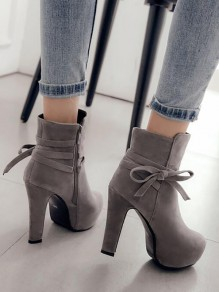 Grey Round Toe Chunky Bow Fashion Ankle Boots