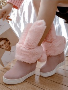 Pink Round Toe Rabbit Ears Fashion Boots