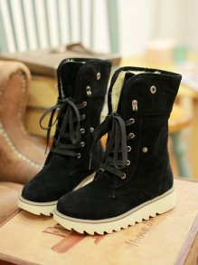 Black Round Toe Lace-up Fashion Boots