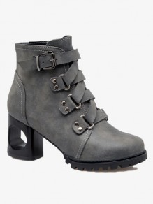 Grey Round Toe Fashion Ankle Boots