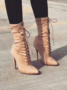 Apricot Point Toe Stiletto Fashion Mid-Calf Boots