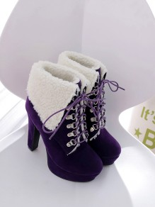 Purple Round Toe Chunky Fashion Ankle Boots
