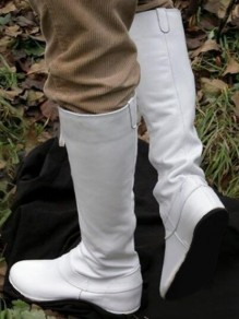 White Round Toe Lace-up Fashion Boots