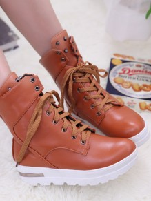 Brown Round Toe Rivet Lace-up Fashion Boots