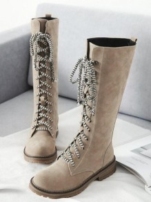 Beige Round Toe Chunky Cross Strap Fashion Mid-Calf Boots