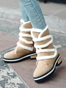 Beige Round Toe Chunky Faux Fur Patchwork Velcro Fashion Mid-Calf Boots