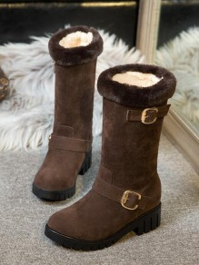 Brown Round Toe Chunky Faux Fur Patchwork Buckle Fashion Mid-Calf Boots