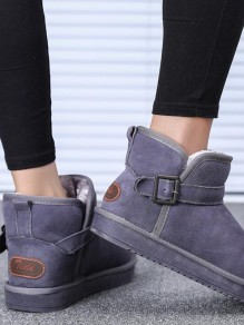 Grey Round Toe Print Fashion Ankle Boots