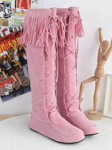 Pink Round Toe Fashion Knee-High Boots