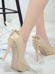 Apricot Round Toe Stiletto Bow Rhinestone Fashion High-Heeled Shoes