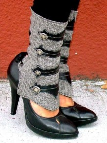 Black Point Toe Stiletto Rivet Patchwork Fashion Mid-Calf Boots
