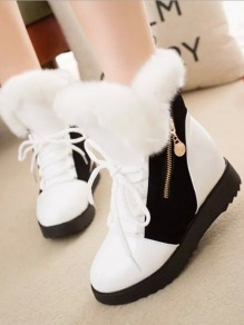 White Round Toe Zipper Lace-up Fashion Boots