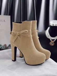 Apricot Round Toe Chunky Bow Fashion Ankle Boots