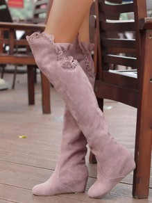 Pink Round Toe Fashion Over-The-Knee Boots