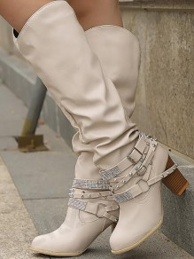 Beige Round Toe Chunky Rhinestone Rivet Fashion Knee-High Boots