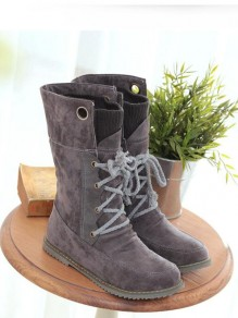 Grey Round Toe Flat Patchwork Cross Strap Fashion Mid-Calf Boots