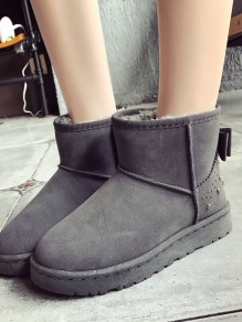 Grey Round Toe Flat Bow Fashion Ankle Boots