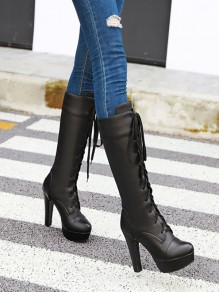 Black Round Toe Chunky Fashion Knee-High Boots