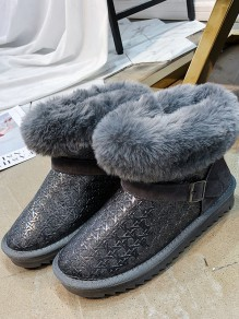Grey Round Toe Flat Fashion Ankle Boots