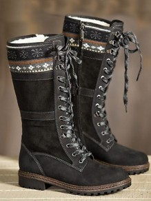 Black Round Toe Chunky Patchwork Cross Strap Fashion Mid-Calf Boots