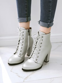 Silver Round Toe Chunky Fashion Ankle Boots