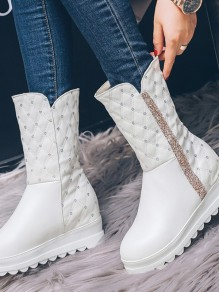 Bottes bout rond strass cheville blanc
