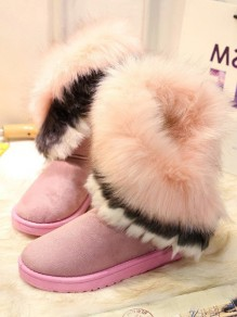 Pink Round Toe Fashion Mid-Calf Boots