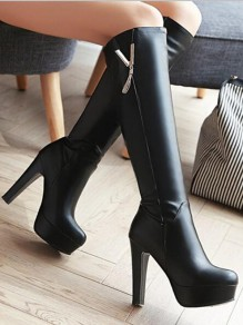 Black Round Toe Chunky Metal Decoration Tassel Fashion Knee-High Boots